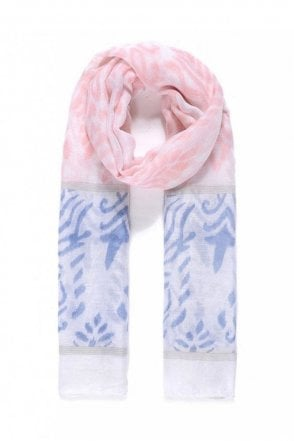 Pink/Blue Print Scarf