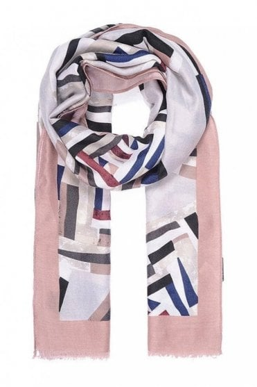 Pink Border Abstract Print Scarf