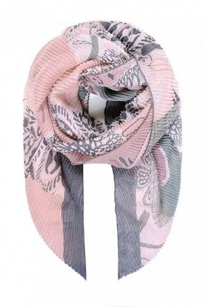 Pink Floral Print Pleated Scarf