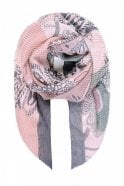 Jewelcity Pink Floral Print Pleated Scarf
