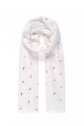 White/Gold Small Fern Metallic Print Scarf