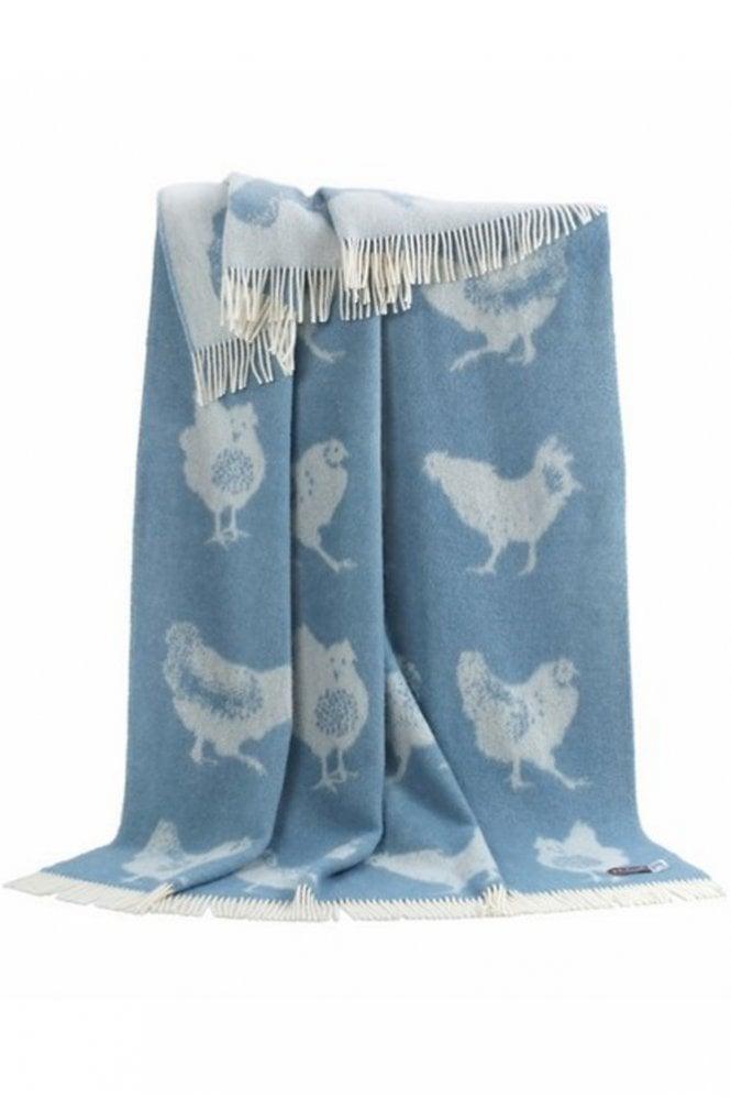 JJ Textiles Chicken Throw in Blue