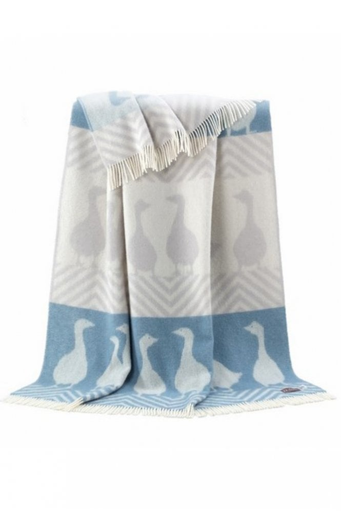 JJ Textiles Goose Throw in Grey and Blue