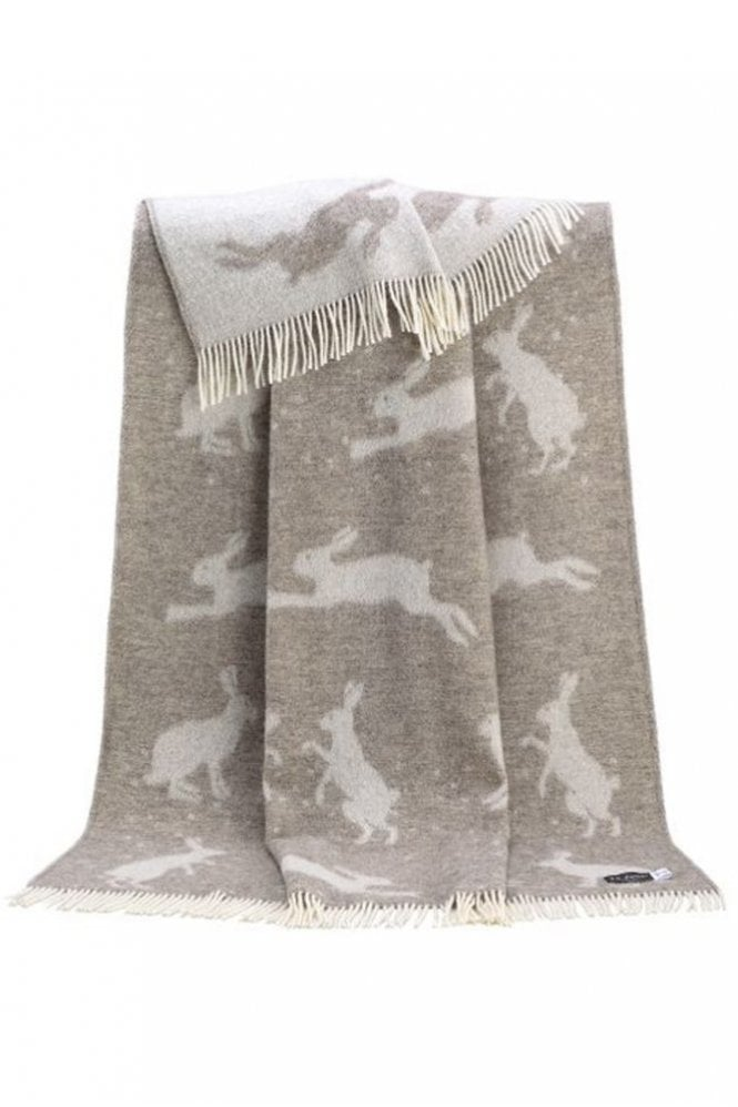 JJ Textiles Hare Throw in Soft Brown
