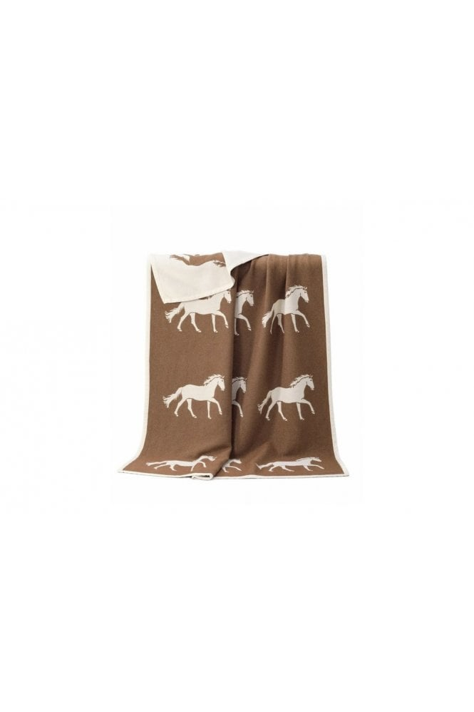 JJ Textiles Horse Cotton Blanket in Brown
