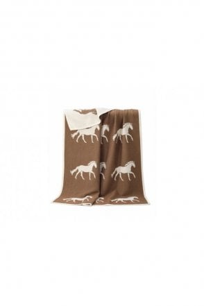 Horse Cotton Blanket in Brown