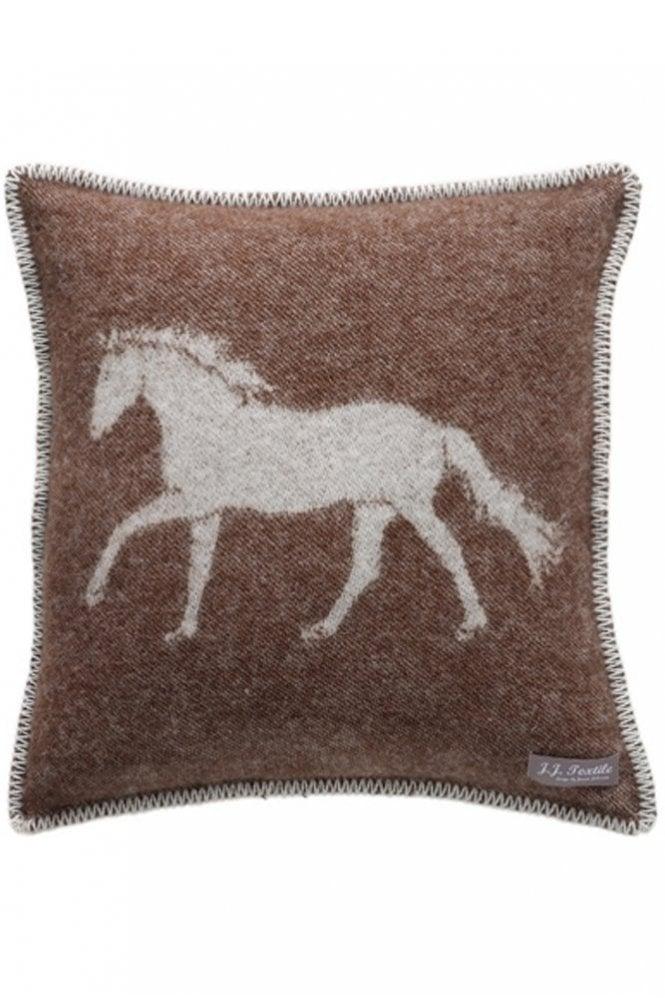 JJ Textiles Horse Cushion in Dark Brown