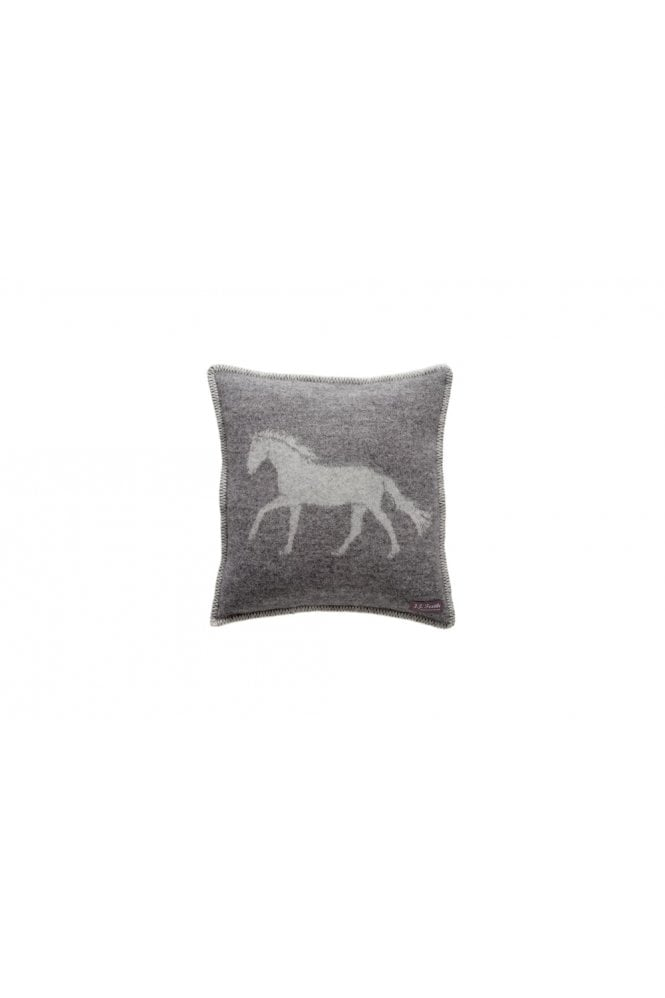 JJ Textiles Horse Cushion in Grey