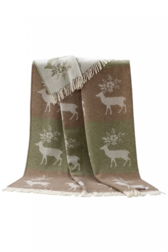 JJ Textiles Stag Throw in Light Green and Taupe