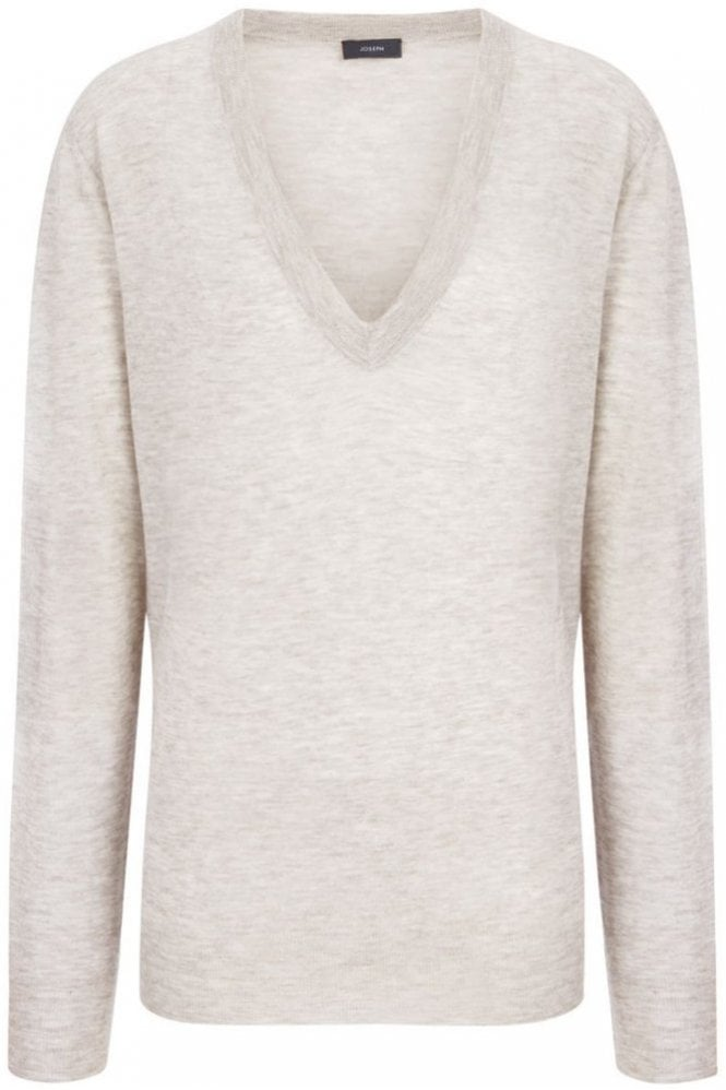 Joseph Cashair Intarsia V Neck Sweater in Beige Chine
