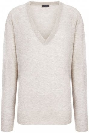 Cashair Intarsia V Neck Sweater in Beige Chine