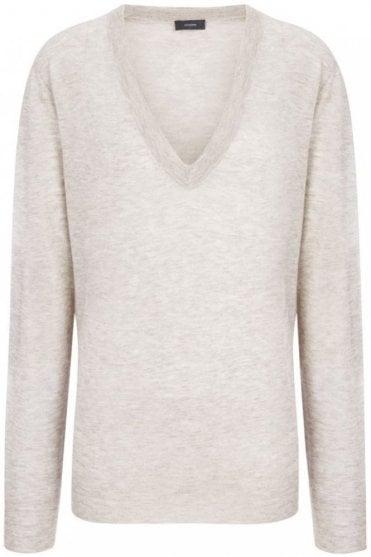 Cashair Intarsia V Neck Sweater in Beige Chine