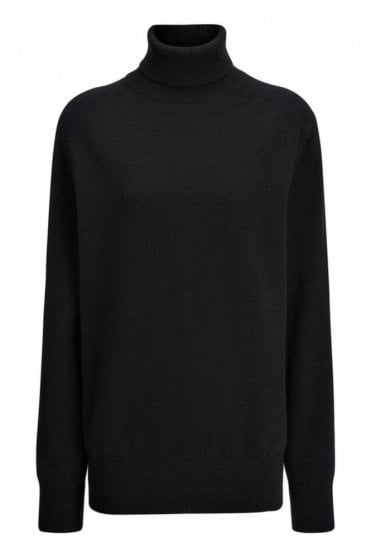 Cashmere 12gg Roll Neck Sweater in Black