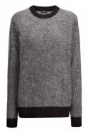 Joseph Chevron Knit Sweater in Charcoal Grey with Black Accents
