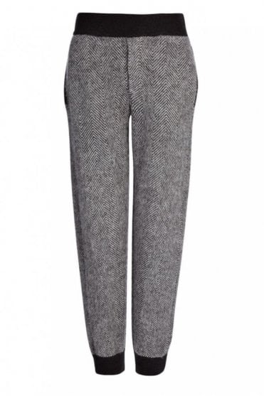 Chevron Knits Jog Trousers in Charcoal Grey with Black Accents