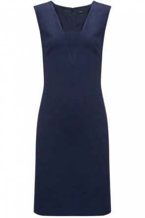 Linen Stretch Stephy Dress in Navy