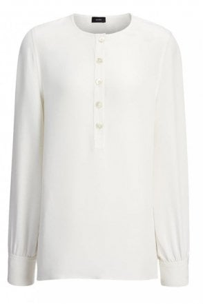 Matt Silk Cleo Top in Off-White