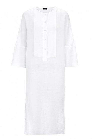 Ramie Voile and Georgette Thea Dress in White