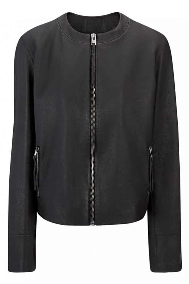 Joseph Scuba Leather Alya Jacket in Black