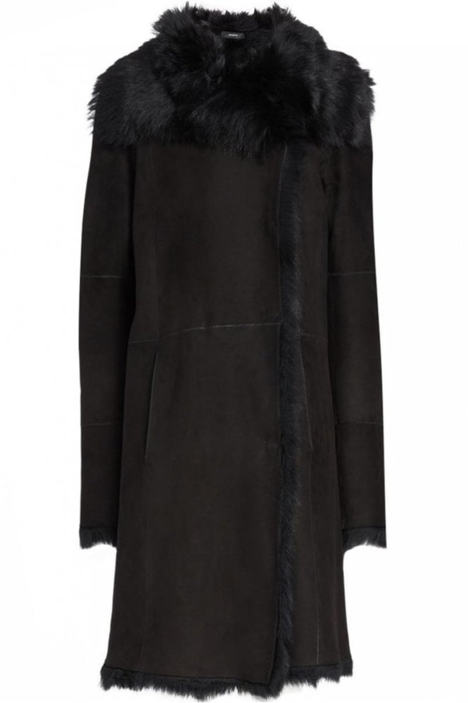 Joseph Toscana Anais Sheepskin Coat in Black