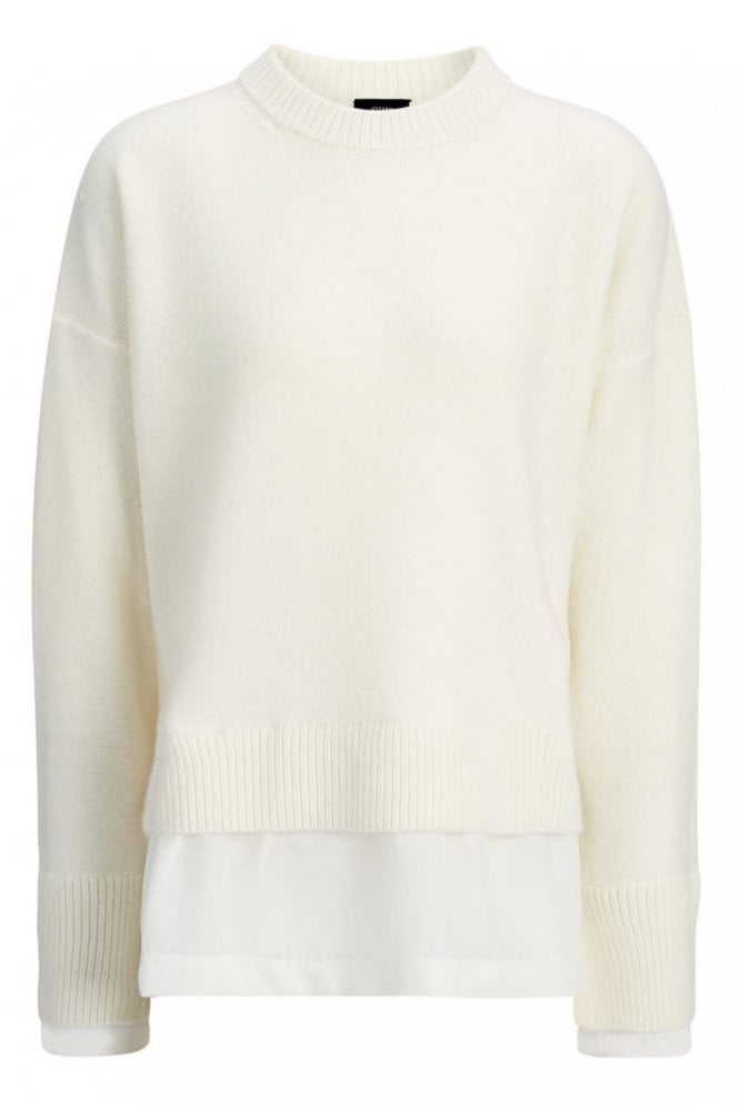 Joseph Wool Cashmere and Crepe De Chine Top in Ecru