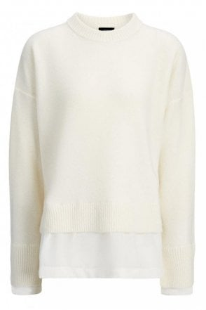 Wool Cashmere and Crepe De Chine Top in Ecru