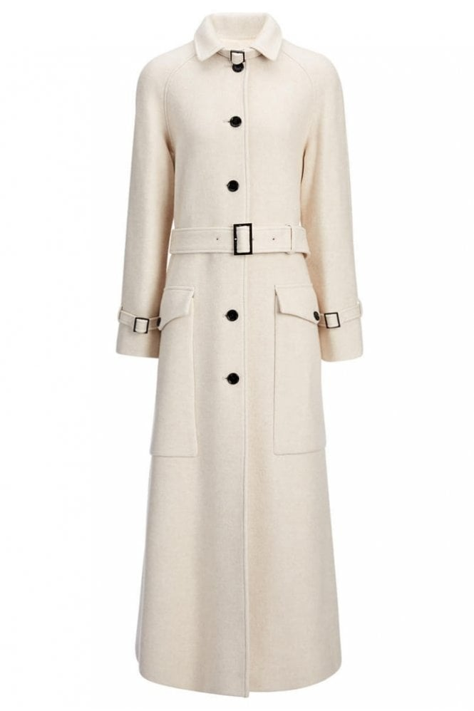 Joseph Wool Viscose Coating Aster Coat in Oyster Cream