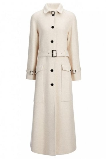 Wool Viscose Coating Aster Coat in Oyster Cream