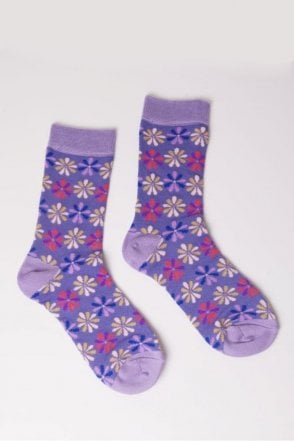 Flower Socks in Purple