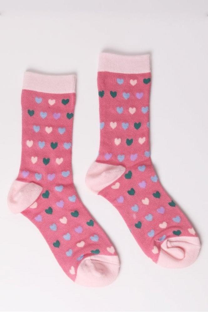 Joya Heart Socks in Pink