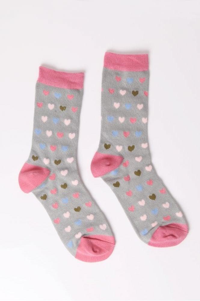 Joya Heart Socks in Sage