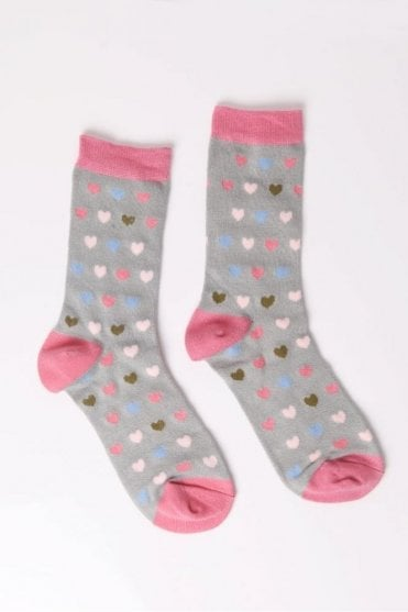 Heart Socks in Sage