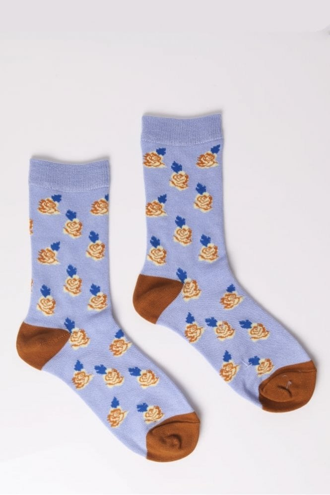Joya Rose Socks in Blue and Ochre