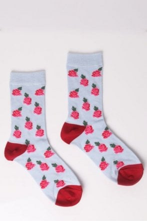 Rose Socks in Light Blue and Red