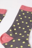 Joya Spot Socks in Grey, Pink and Yellow