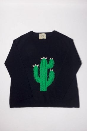 Big Cactus Cashmere Crew in Navy