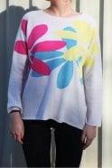 Jumper 1234 Big Daisy Cashmere Crew Knit in Cream