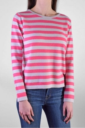 Boxy Stripe Cashmere Sweater in Snow/Bubblegum Pink