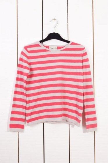 Boxy Stripe Cashmere Sweater in Snow/Bubblegum Pink