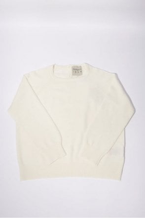Button Back Cashmere Crew in Cream