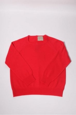 Button Back Cashmere Crew in Crimson