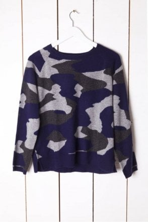 Camo Sweat in Navy