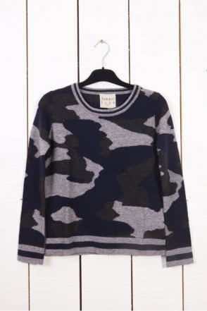 Contrast Rib Camo 2 Cashmere Sweater in Grey/Navy/Charcoal