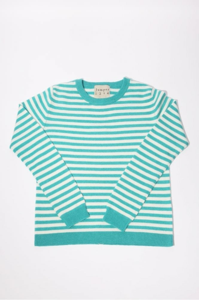 Jumper 1234 Horizontal Stripe Cashmere Crew in Turquoise & Cream