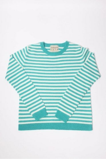 Horizontal Stripe Cashmere Crew in Turquoise & Cream
