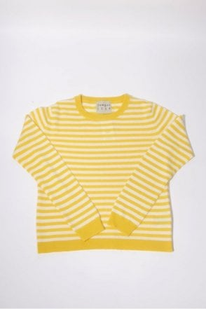 Horizontal Stripe Cashmere Crew in Yellow & Cream