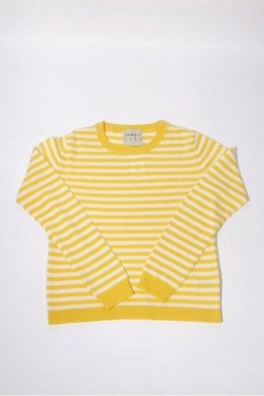Horizontal Stripe Cashmere Crew in Yellow & Cream