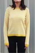 Jumper 1234 Horizontal Stripe Cashmere Crew in Yellow & Cream