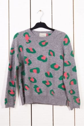 Leopard Print Cashmere Sweater in Mid Grey base/Green/Bubblegum