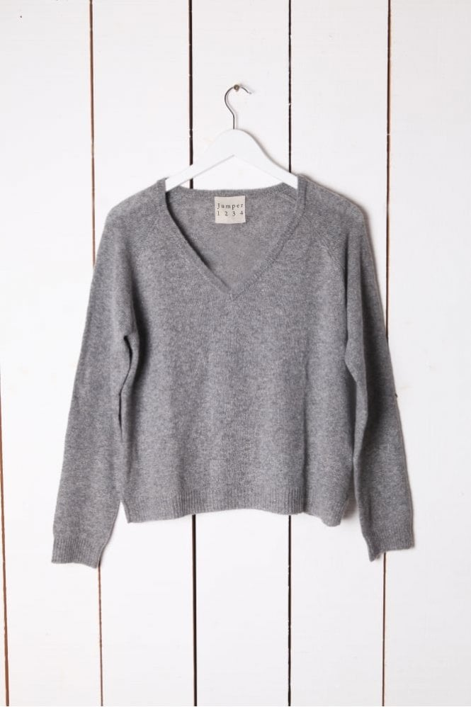 Jumper 1234 Lurex V Neck Knit in Grey
